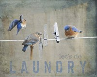 Laundry Day Bluebirds Fine Art Print