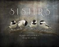 Sisters Chickadees Fine Art Print