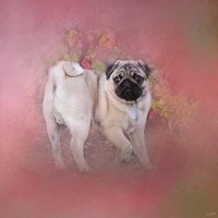 Pug In The Garden Fine Art Print