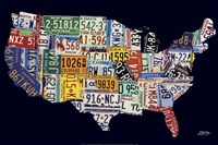 USA License Map Fine Art Print