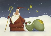 Santa and his staff Fine Art Print