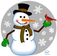 Snowman Cardinal Framed Print