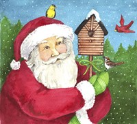Santa Log Birdhouse Fine Art Print