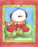 Snowman Give Heart Fine Art Print