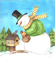 Snowman Green Bird Framed Print