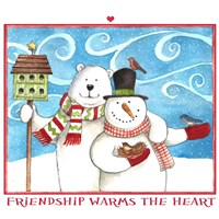 Snowman Bear Friendship Fine Art Print