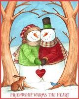 Snowman Tree Heart Share Fine Art Print