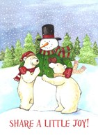 Snowman And Polar Share Joy Fine Art Print