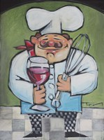 Chef With Wine And Wisk Framed Print