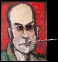 Hunter S Thompson With Cig Black Fine Art Print