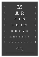 Eye Chart Martini Framed Print