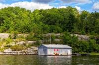 Old Metal Boathouse, Lake Muskoka, Ontario, Canada Fine Art Print