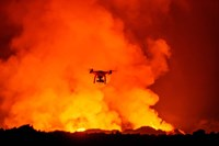 Radio Contolled Drone flying over Eruption, Holuhraun Fissure, Bardarbunga Volcano, Iceland. Fine Art Print