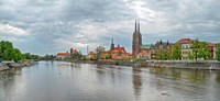 Oder river and Cathedral island in Wroclaw, Poland Fine Art Print