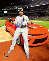 Salvador Perez with the World Series MVP Trophy Game 5 of the 2015 World Series Fine Art Print