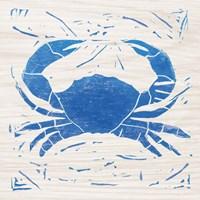 Sea Creature Crab Blue Framed Print