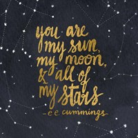 Starry Words III Gold Framed Print