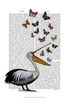Pelican & Butterflies Fine Art Print