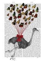 Ostrich Flying with Butterflies Fine Art Print