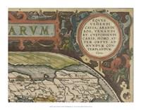 Antique World Map Grid III Framed Print
