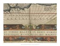 Antique World Map Grid VIII Framed Print