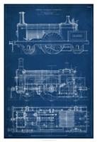 Locomotive Blueprint I Framed Print