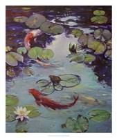 Red Koi & Lilies Fine Art Print