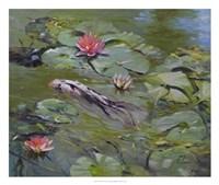 Koi & Lilies III Fine Art Print