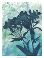Indigo Floral Silhouette II Framed Print