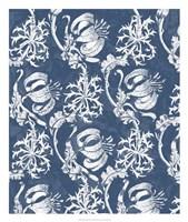 Indigo Floral Chintz I Framed Print