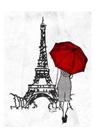 Inked Walk Away Mate Red Umbrella. Framed Print