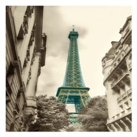 Teal Eiffel Tower 2 Framed Print