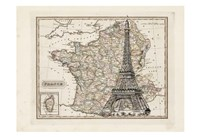Eiffel Tower Map Fine Art Print