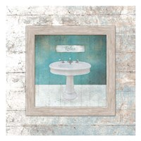 Framed Aqua Bath Sink Fine Art Print