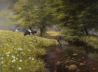 Cattle By The Stream Fine Art Print