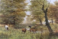 Cows By Bridge Fine Art Print
