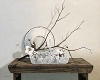 Wire Basket With Cotton Fine Art Print