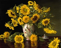 Sunflowers in a Chinese Peacock Vase Fine Art Print