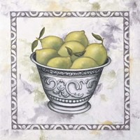Limes In A Silver Bowl Framed Print