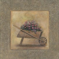 Flowers In A Wheelbarrow Framed Print