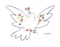 Colombe Avec Fleurs Fine Art Print