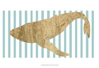 Pin Stripe Whale II Framed Print