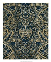 Baroque Tapestry in Aged Indigo II Framed Print