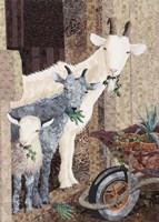 Three Goats and a Wheelbarrow Fine Art Print