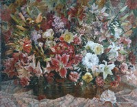 Flowers on Checkered Tablecloth Fine Art Print