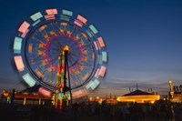 Fast Motion Red and Blue Lit Ferriswheel Fine Art Print