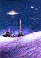 Blue UFO Night Fine Art Print