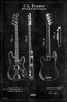 Guitar 1 Black Fine Art Print