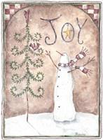 Joy Primitive Snowman Fine Art Print