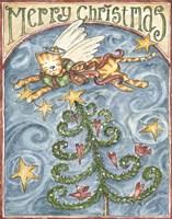 Merry Christmas (Cat & Cardinal) Fine Art Print